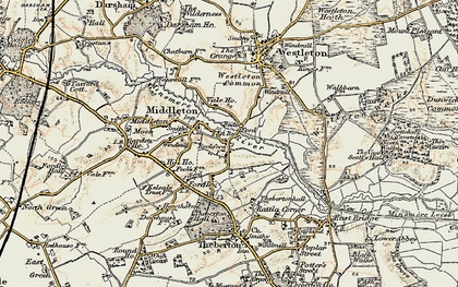Old map of Westleton Common in 1901