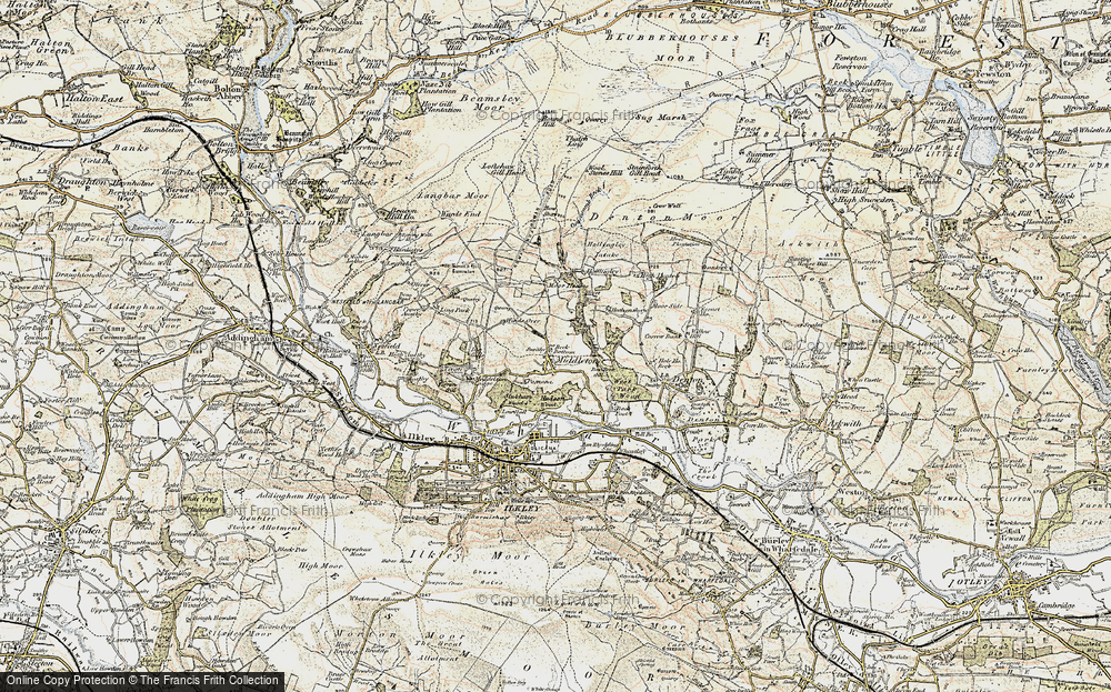 Old Map of Historic Map covering Wool Stones Hill in 1903-1904