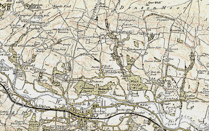 Old map of Heligar Pike in 1903-1904