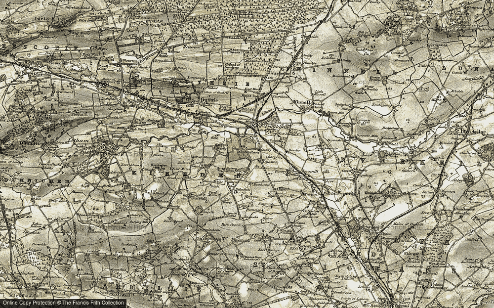 Old Map of Historic Map covering Legaston in 1907-1908