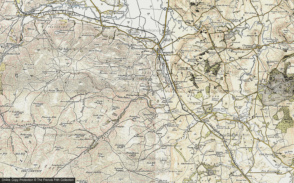 Old Map of Historic Map covering Langlee in 1901-1903
