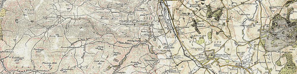 Old map of Wooler Common in 1901-1903
