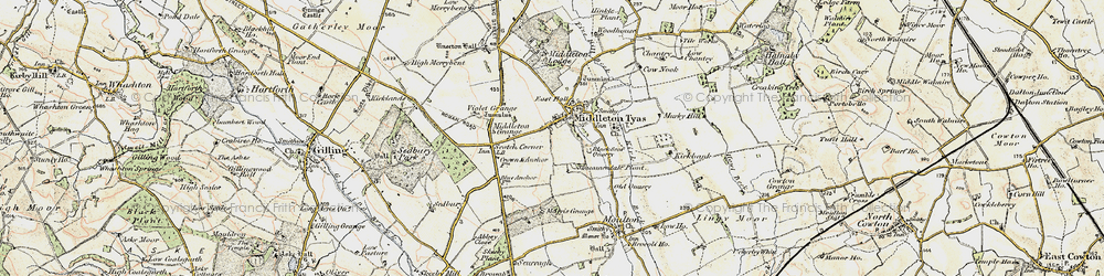 Old map of Middleton Tyas in 1903-1904