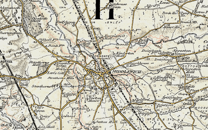 Old map of Middlewich in 1902-1903