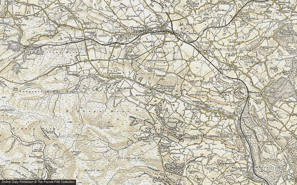 Old Map of Midhopestones, 1903 in 1903