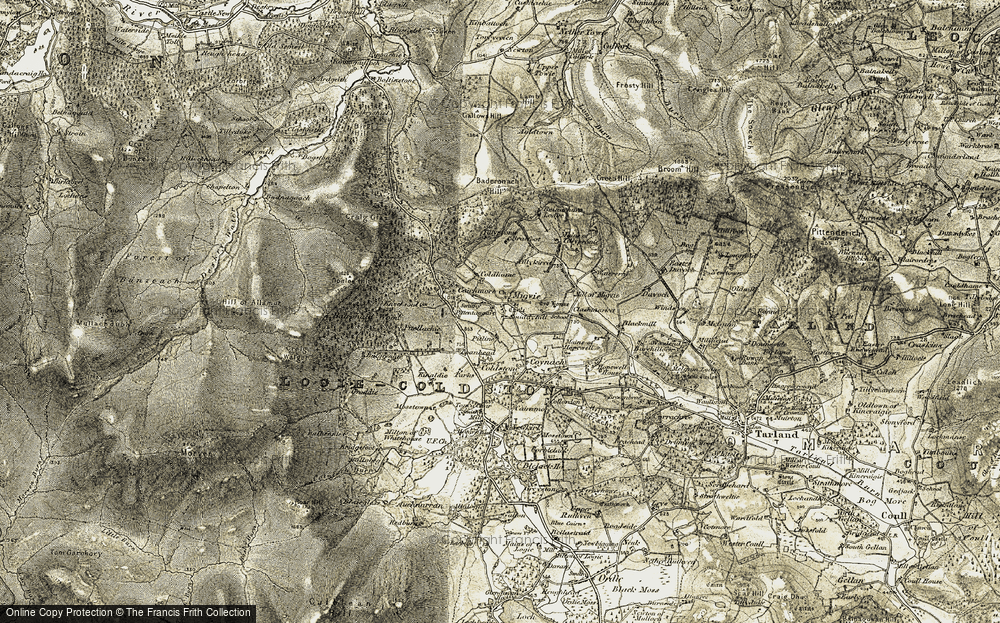 Old Map of Historic Map covering Balronald Wood in 1908-1909