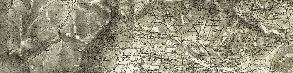 Old map of Lazy Well in 1908-1909
