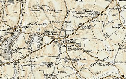 Old map of Milborne St Andrew in 1897-1909