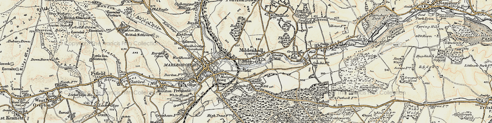 Old map of Mildenhall in 1897-1899