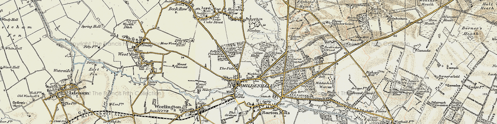 Old map of Mildenhall in 1901