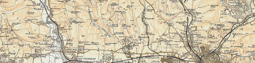 Old map of Mile Oak in 1898