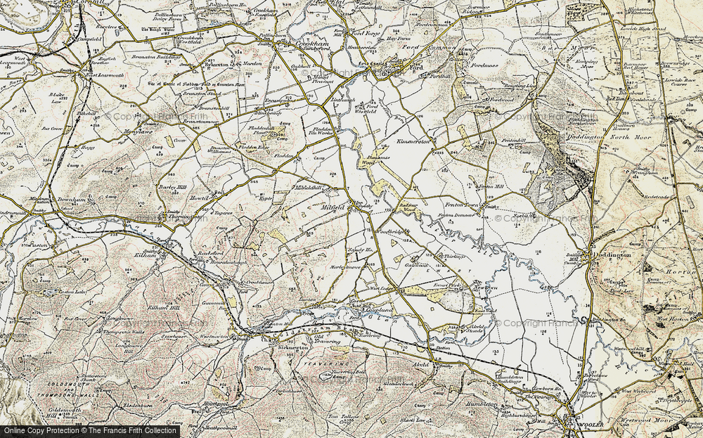 Old Map of Historic Map covering Woodbridge in 1901-1903