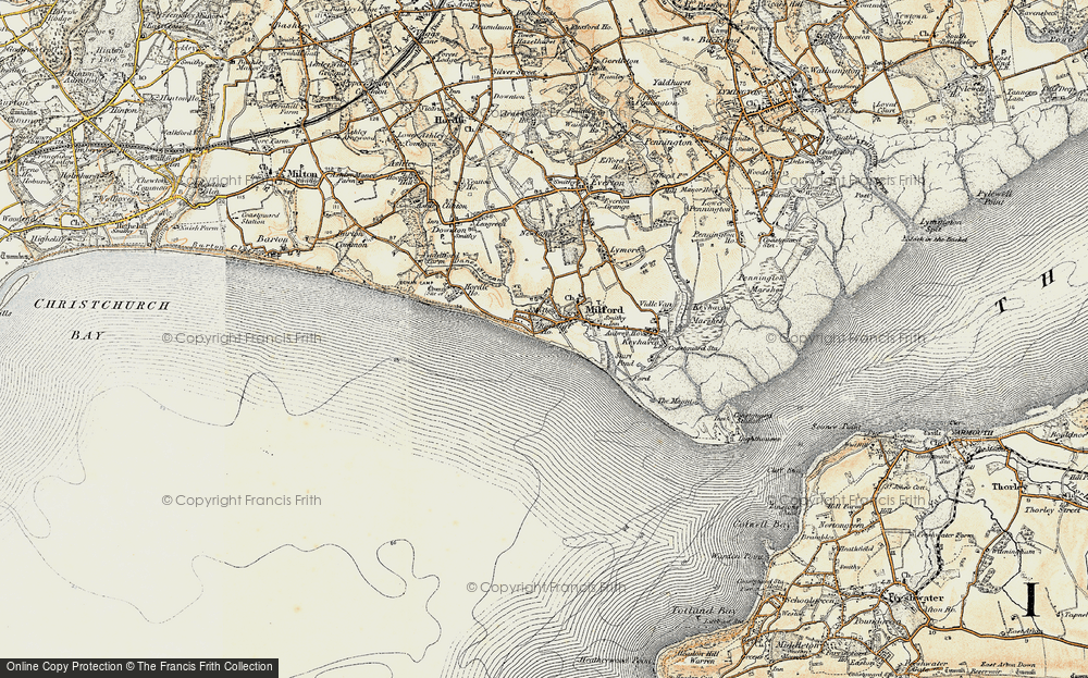 Old Map of Milford on Sea, 1899-1909 in 1899-1909
