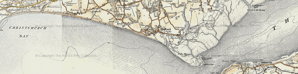 Old map of Milford on Sea in 1899-1909