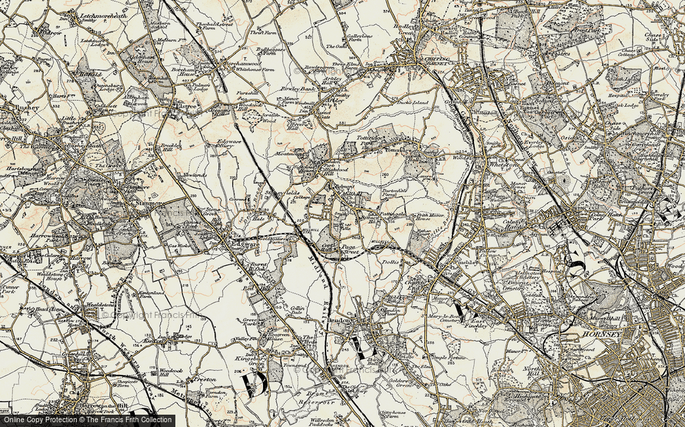 Old Map of Mill Hill, 1897-1898 in 1897-1898