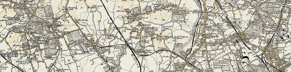 Old map of Mill Hill in 1897-1898