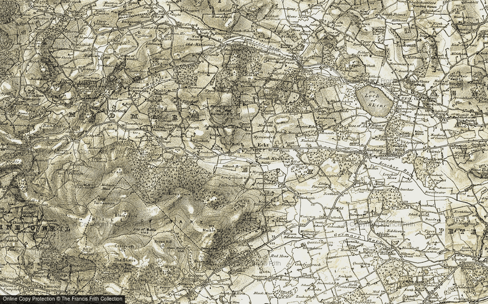Old Map of Historic Map covering Tillyboy in 1908-1909