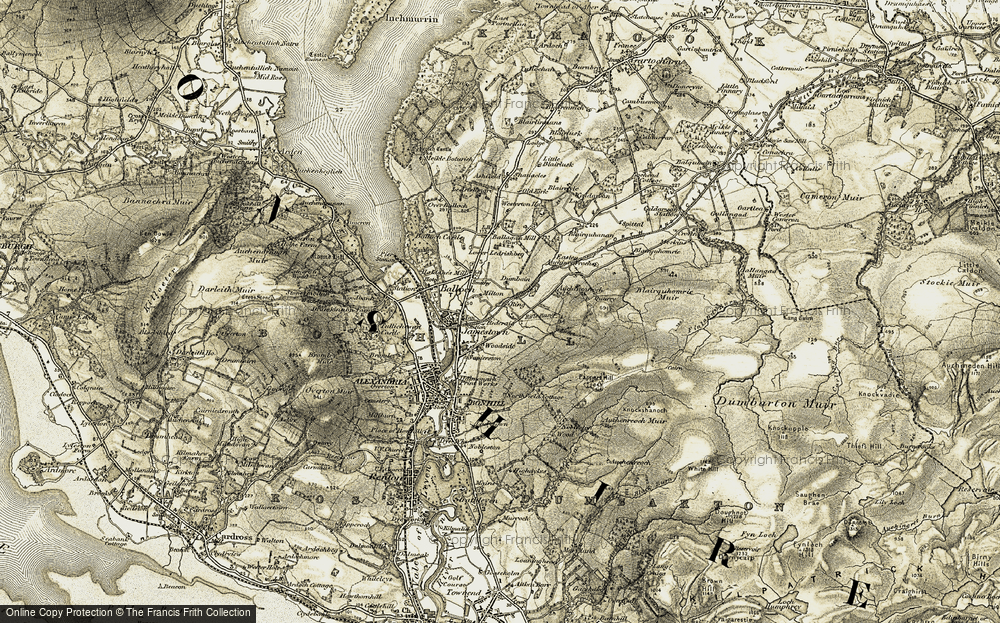 Old Map of Historic Map covering Auchencarroch in 1905-1907