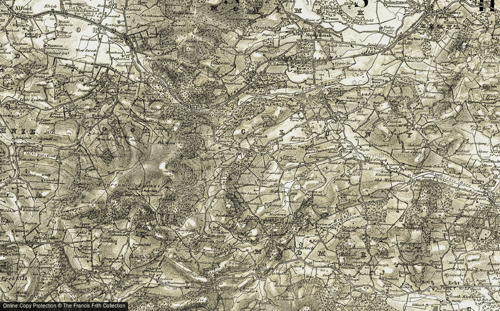 Old Map of Historic Map covering Tillyfro in 1908-1909