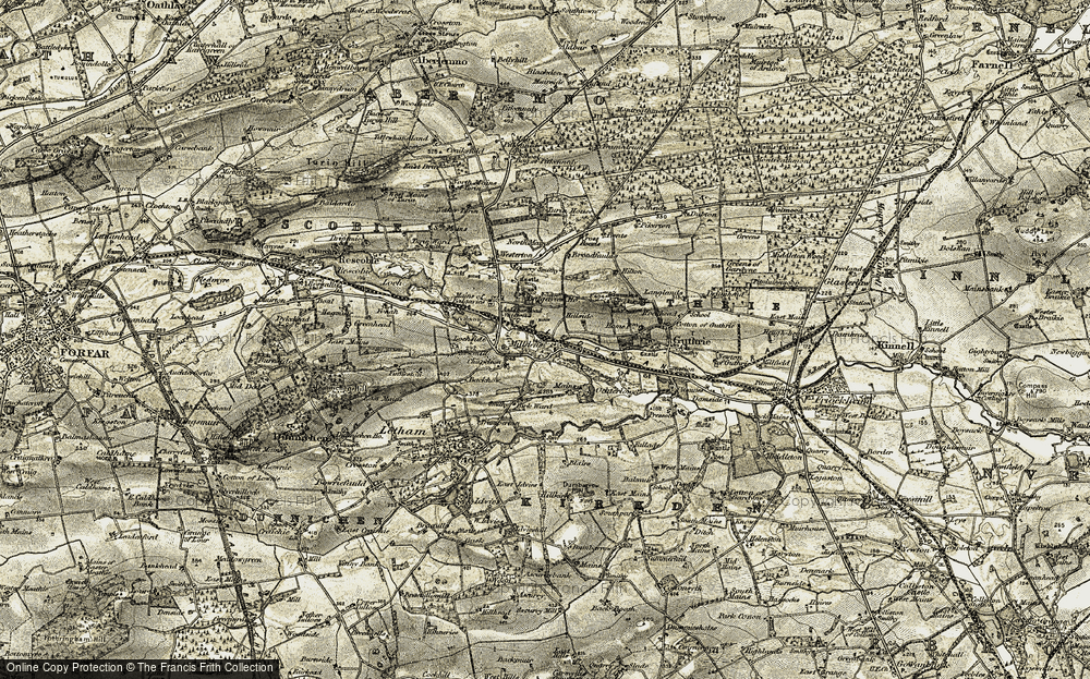 Old Map of Historic Map covering Balgavies Loch in 1907-1908
