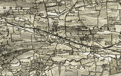 Old map of Balgavies House in 1907-1908