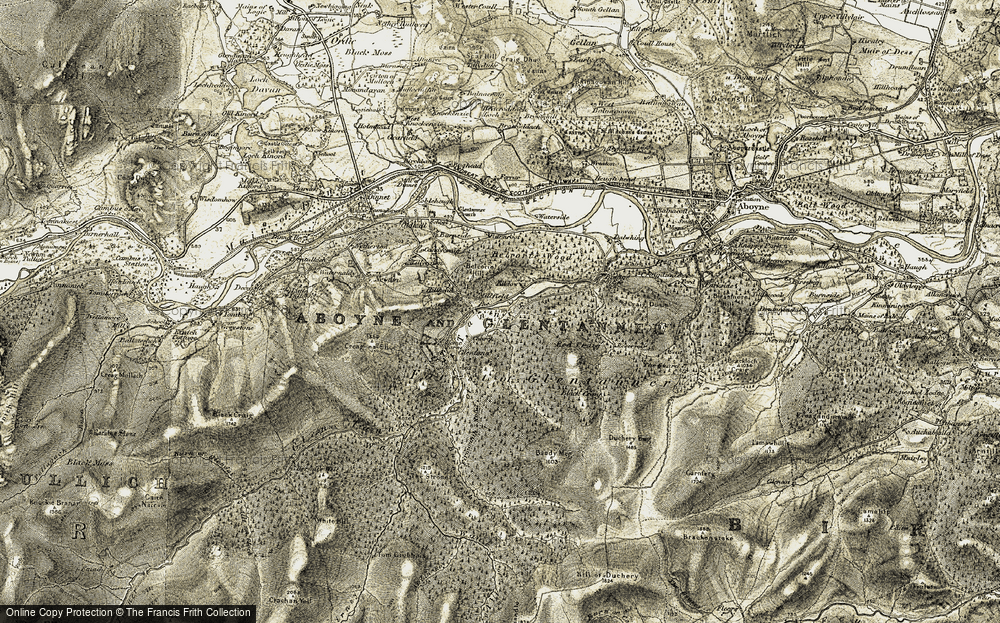 Old Map of Historic Map covering Allt Roy in 1908-1909