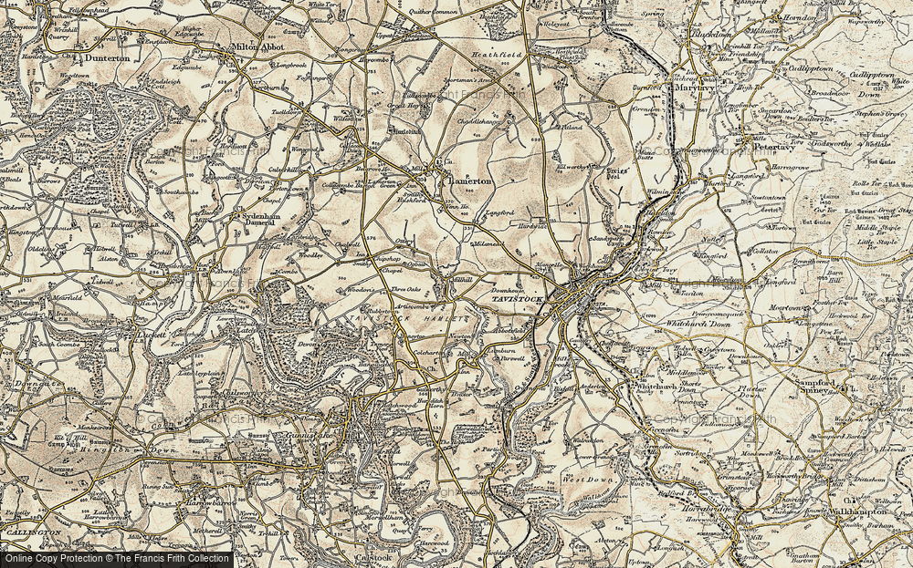 Old Map of Historic Map covering Woodovis Ho in 1899-1900