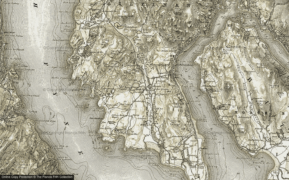 Old Map of Historic Map covering Asgog Loch in 1905-1907