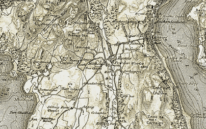 Old map of Auchoirk Cotts in 1905-1907