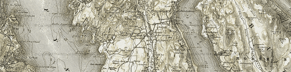 Old map of Allt Osda in 1905-1907