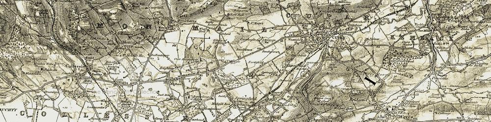 Old map of Wester Balgarvie in 1906-1908