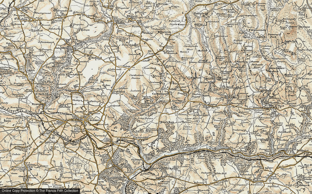 Old Map of Historic Map covering Lidcutt Wood in 1900