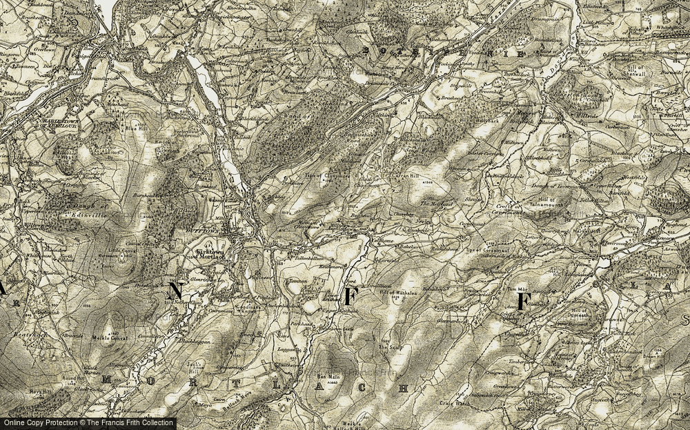 Old Map of Historic Map covering Tips of Clunymore in 1908-1910