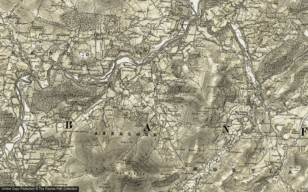 Old Map of Historic Map covering Tom of Ruthrie in 1908-1911