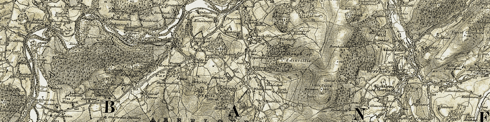 Old map of Tom na Bent in 1908-1911