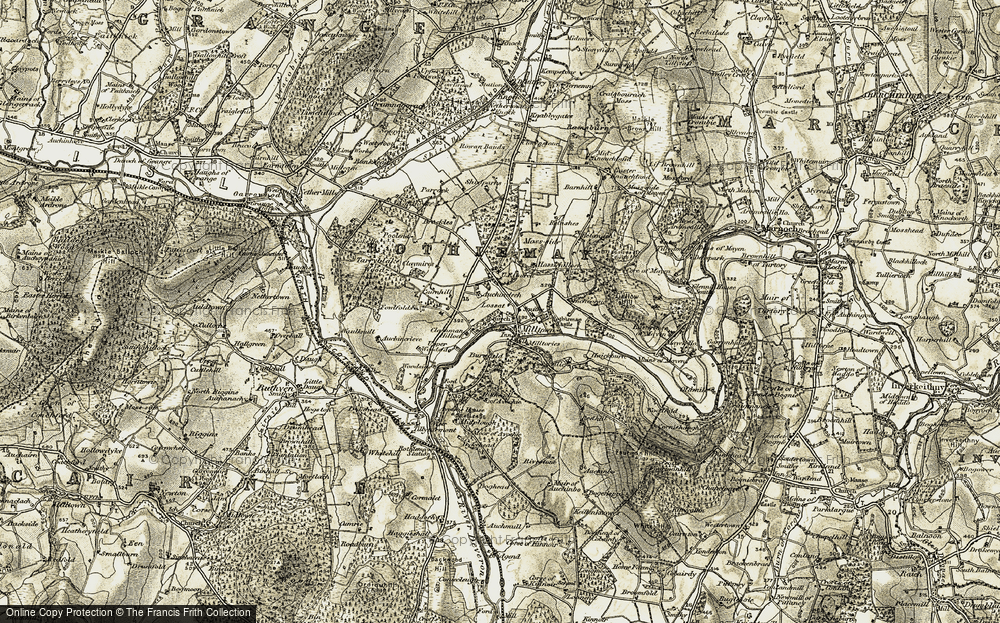 Old Map of Historic Map covering Auchincrieve in 1910