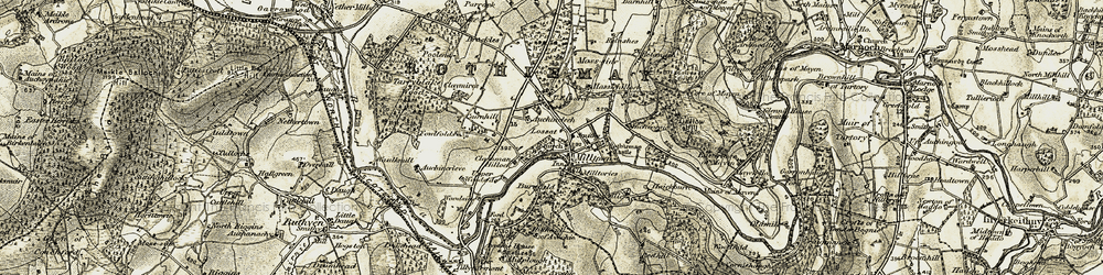 Old map of Milltown of Rothiemay in 1910