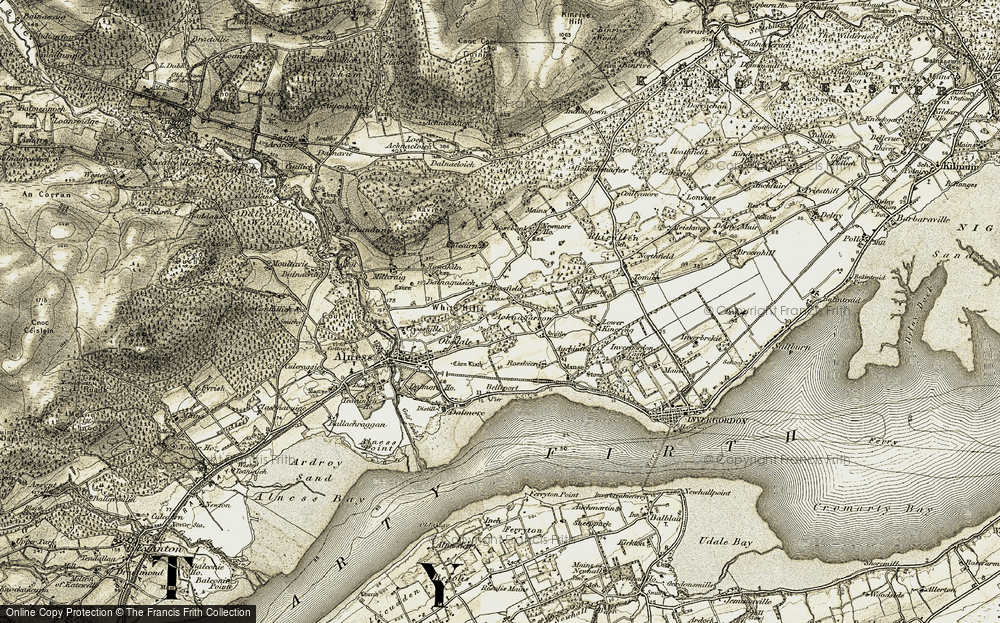 Old Map of Historic Map covering Balnaguisich in 1911-1912
