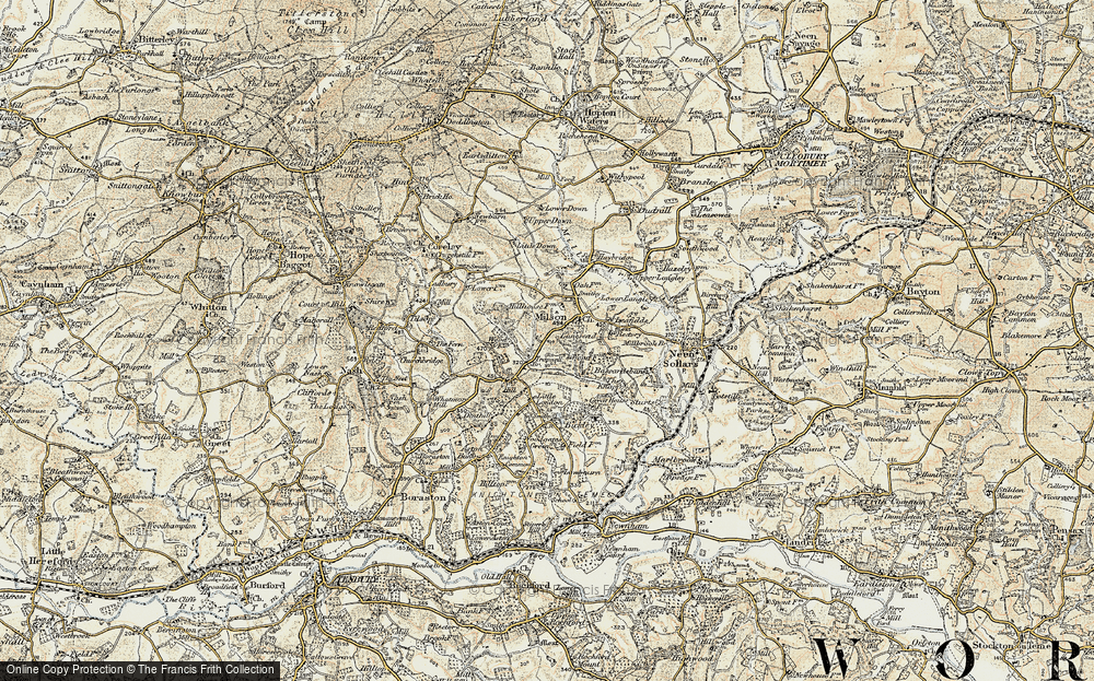 Old Map of Historic Map covering Lea Fields in 1901-1902