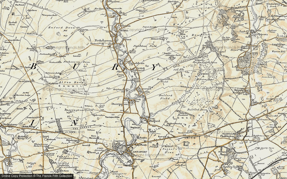 Old Map of Historic Map covering Ablington Down in 1897-1899