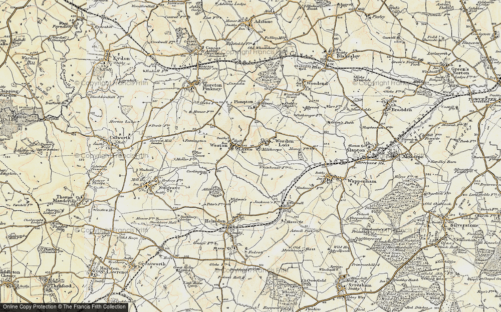 Old Map of Historic Map covering Astwell Ho in 1898-1901