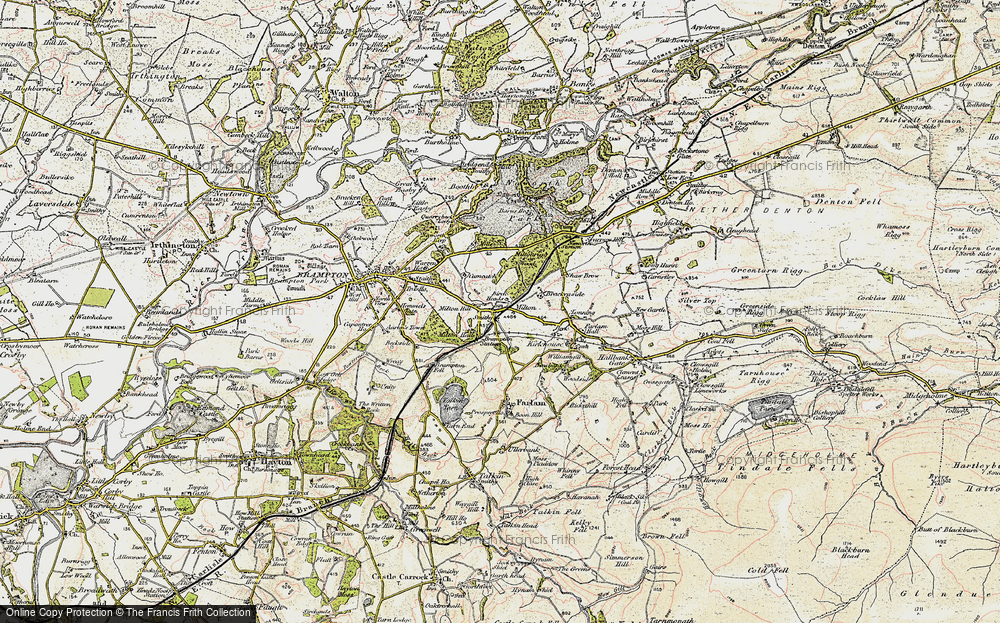 Old Map of Historic Map covering Wreay in 1901-1904