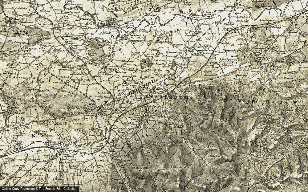 Old Map of Historic Map covering Auchterarder Ho in 1906-1908