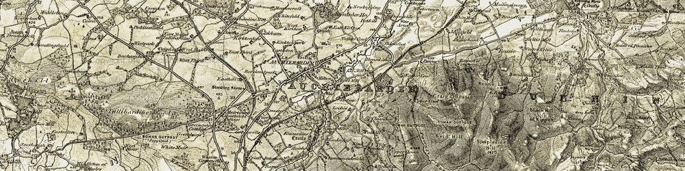 Old map of Woodside in 1906-1908