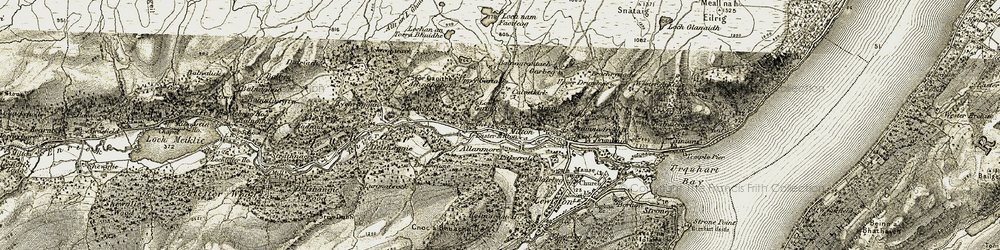 Old map of Allanmore in 1908-1912