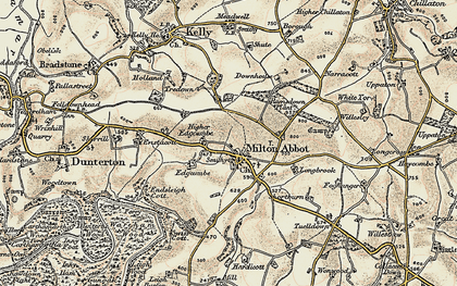 Old map of Milton Abbot in 1899-1900