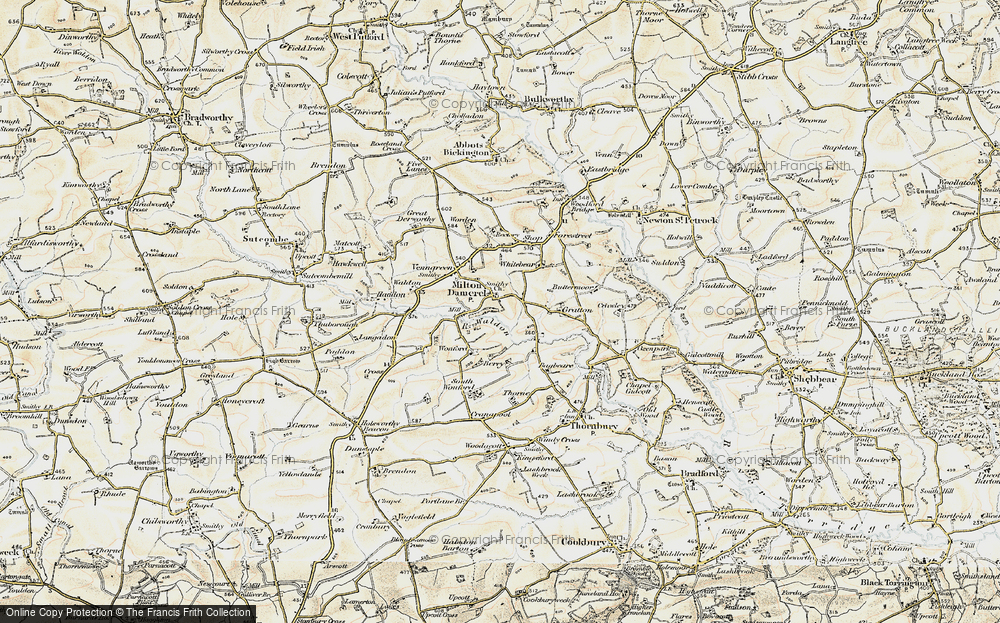 Old Map of Historic Map covering Wonford in 1900