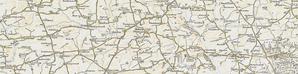 Old map of Wonford in 1900