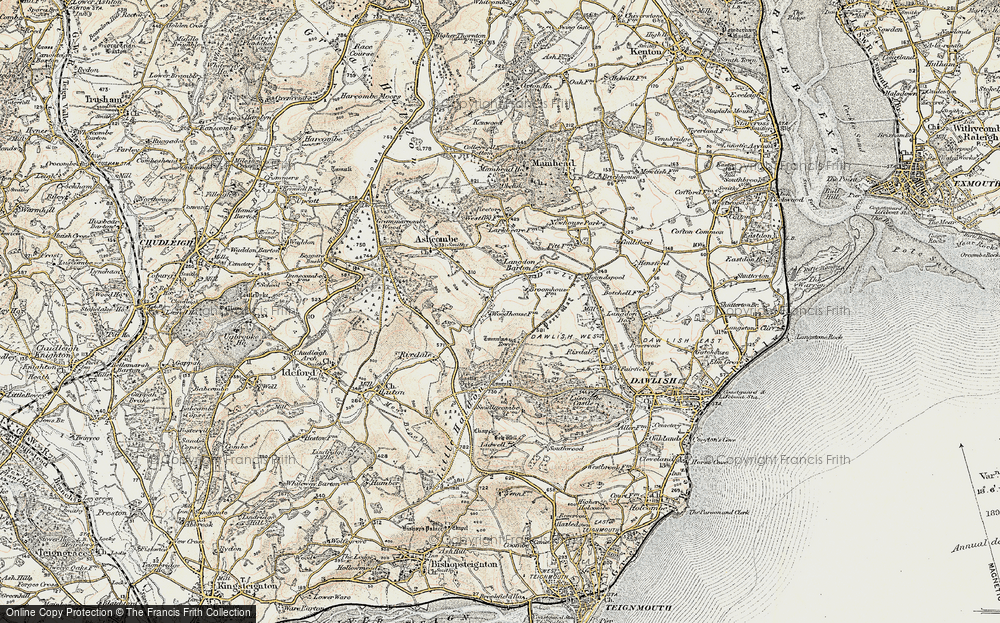 Old Map of Historic Map covering Ashcombe Tower in 1899