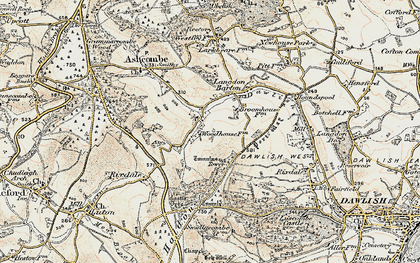 Old map of Ashcombe Tower in 1899